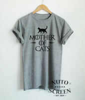 Mother of Cats T-Shirt Cat Mom Shirts Kitten Mama Unisex Women Funny Gift Tees