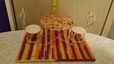 Vintage miniature dollhouse furniture MOSAIC BISTRO TABLE, 2 CHAIRS, & carpet