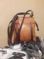VALENTINA ITALIAN LEATHER Two-Tone Tan/Brown Leather Shoulder Handbag