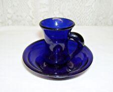 Handblown Cobalt Blue Miniature Pitcher and Blowl Set from MA