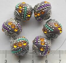 6 x Indonesia style, handmade, clay beads, approx 15 mm,   DUSKY PURPLE  105