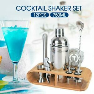 12Pcs Cocktail Shaker Set Mixer Martini Strainer Bartender Kit Spirits Maker Bar