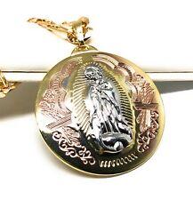 """Virgen Guadalupe Medalla Pendant Necklace 26"""" Tres Colores Cadena oro laminado"""