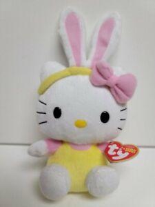 "Ty Beanie Babies Hello Kitty -New Yellow Jumper& Pink Ears Ears-MWMT-9"""