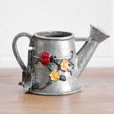 Grey Floral Decorative Watering Can Garden Planter Plant Pot Gift Outdoor Decor