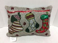 Giltter Sequence Beaded Sofa Holiday Christmas bed throw Pillow w insert Bling