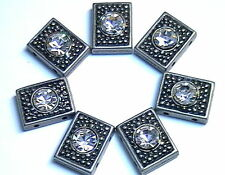 7 - 2 HOLE SLIDER BEADS 2 HOLE SPACER BEADS DOTTED RECTANGLE 6mm CLEAR CRYSTALS