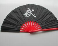 """13""""Chinese Kung Fu Tai Chi Wushu martial art Dance Red bone black Fan""""WU""""fan"""