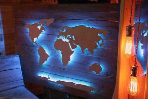 Weltkarte Holz Palette Wandbild LED 3D Effekt tauglich! Bausatz bis 200 cm
