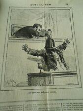 Caricature 1876 - Aux gros mots les grands remèdes Mettre une cloche sur la tête