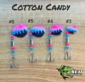 COTTON CANDY - AEO Custom Fishing Spinner 4x Strong Bass Trout Pike Salmon Lure