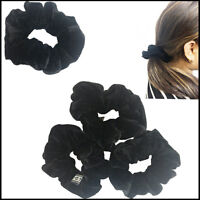 2  Hair Scrunchies Velvet Black Scrunchie Ponytail Tie Band Elastic Holder Women