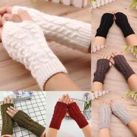 Women Ladies Winter Fingerless Gloves Wrist Arm Soft Warm Knitted Mittens Glove