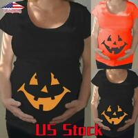 Pregnant Women Pumpkin Face Halloween Maternity Tops T-shirt Casual Blouse Tee