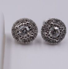 14K White Gold and 0.33Ct Diamond Stud Custer Earring with Screw Backing 6mm