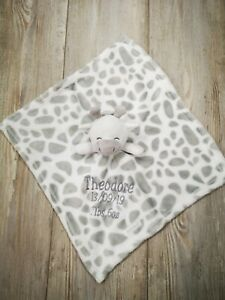 Personalised  embroidered super soft BABY giraffe BLANKET /comforter set luxury