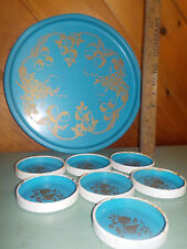 Tin Tray & Coasters Robin Blue Gold Scrolled Design Primitive Kitchen Decor!