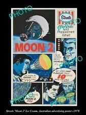 OLD LARGE HISTORIC PHOTO STREETS ICE CREAM 'MOON 2' ADVERTISING POSTER c1970
