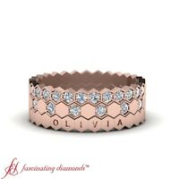 Rose Gold Round Cut Diamond 3 Piece Personalized Stackable Wedding Band 0.35 Ctw