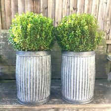 Vintage Style Grey Zinc Galvanised Metal Garden Planter Tub Flower Pot Barrel x1
