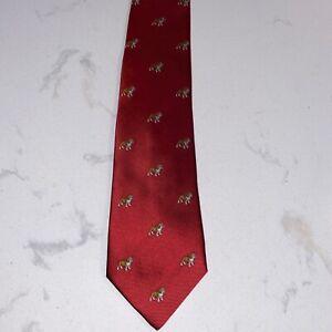 Cantini Youth Red Silk English Bulldog Tie NWT