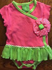Mud Pie Girls Pink 3D Polka Dot Flower Ruffle Skirted Romper Size 0-6 Months