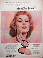 PUBLICITÉ DE PRESSE 1956 GEMEY DERNIÈRE TOUCHE POUDRE FINAL TOUCH - ADVERTISING