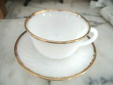 Fire King Oven Ware Milk Glass Cup and Saucer Gold Trim  Golden Anniversary