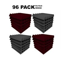 "Acoustic Foam 12x12x2"" Wedge 96 Pack Burgundy Gray Combo Soundproofing tiles"
