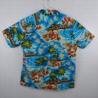 RJC Aloha Hawaiian Camp Shirt S/S Button Down Floral Islands Blue Mens Sz XL EUC