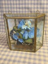 Glass & Brass Etched Shadow Box With Blue Flowers Inside Hinged Door 6x5x2