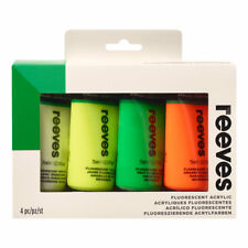 Reeves Acrylic 4 x 75ml Fluorescent Colour Paint Set White,Yellow, Orange, Green