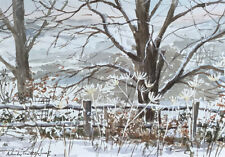 "Original  painting ''Winter trees, Dinefwr""  Ready for a 14 x11""  frame"