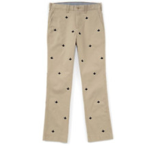 Cremieux Soho Slim Khaki Fleur De Lis Embroidered Pants Size 30 X 30