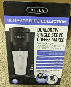 Bella Dual Brew Single-Serve Coffee Maker Black Color K-cup Compatible NEW Hot