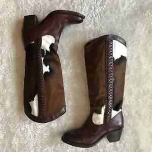 Frye RARE Calf Hair Brown Cow Tall Boots Braided 6.5