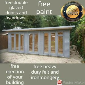 Summer house   home office   double glazed units  22x 8ft  ERECTED FOR FREE