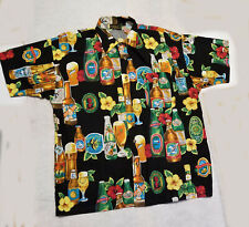 Monzini Collection Mens Moda Italy Beer Button Front Hawaiian Stl Shirt Large L