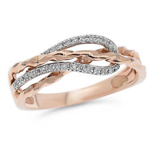 Cocktail Crossover Right Hand Ring 14K Rose Gold Pave Round Diamond