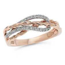 14K Rose Gold Pave Round Diamond Cocktail Crossover Right Hand Ring