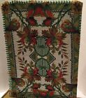 """1890's Micro Bead Tapestry11""""by 8 Silk Lined Frt& Bk Panels Red Green Gold Wht"""