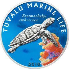 Tuvalu 2010 1 Dollar Tuvalu Marine Life  TURTLE  Silver Coin  +COA