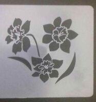"""2 x daffodil flower Wall art decal stencils   3"""" - 8"""" high Mylar 350 mcg Wales"""