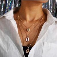 Women Ladies Shell Pendant Multi Layer Clavicle Chain Necklace For Wedding Gift