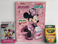 3pc Disney Minnie Mouse Gift Set Coloring Book Crayon  & Jumbo Playing Cards