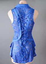 Royal Blue Sheer Button Down Shirt Lace Corset Victorian Steampunk Top Blouse S
