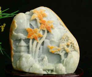 Cert'd 2 Color Natural Grade A Jade jadeite Sculpture Statue landscape r969762