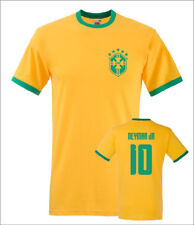 Neymar Jnr Brazil No.10 Mens Football Ringer T-Shirt