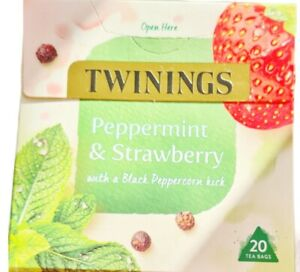 TWININGS  PEPPERMINT AND STRAWBERRY 20 TEA BAGS with a Black Peppercorn Hit New