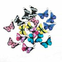10PCS Butterfly Pendants Colourful Enamel Charm Animal Fit DIY Jewellery Making